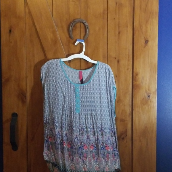 Pure Energy Tops - L Boho gray and turquoise shirt
